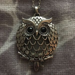 Silver Sliding Owl Pendant with Magnifying Glass